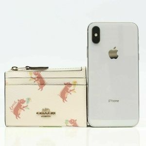 F88062 MINI SKINNY ID CASE WITH PARTY PIG PRINT